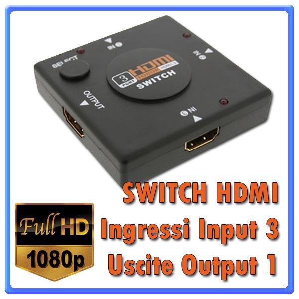 switch splitter hdmi 3 porte